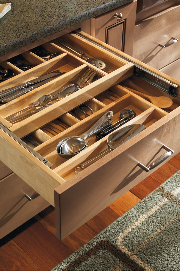 two tiered cutlery divider in cabinet drawer