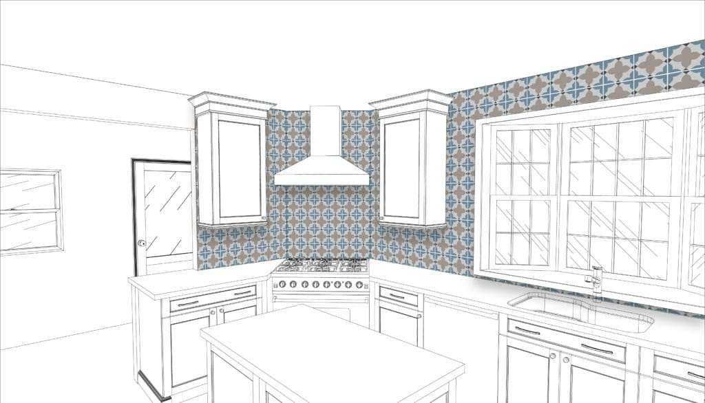 cement tile backsplash design